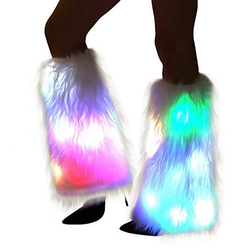 Leuchtende Beinstulpen für Damen, mit Pelz, flauschig, leuchtende Strümpfe, für Tanz, Burning Man Outfit