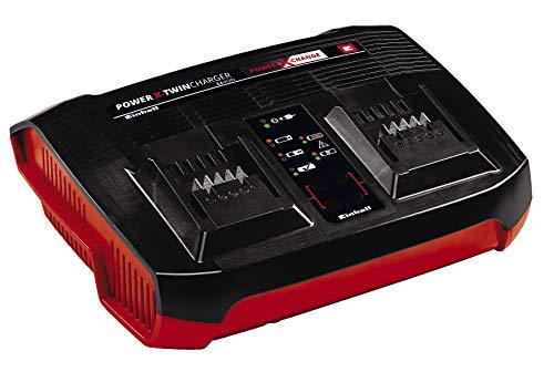 Original Einhell Ladegerät Power-X-Twincharger 3 A Power X-Change (Li-Ion, für alle PXC-Akkus verwendbar, Parallelladung 2x 18 V-Akkus, intelligentes Lademanagement, 6-Stufen-Ladesystem)