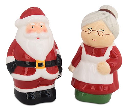 Santa & Mrs Claus Holiday Ceramic Salt and Pepper Shakers Set
