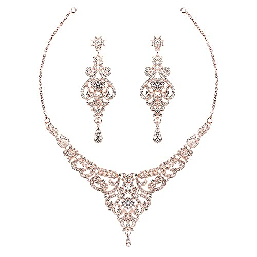 Hapibuy Crystal Rose Gold Wedding Jewelry Set Rhinestone Necklace and Earring Set For Women and Brides