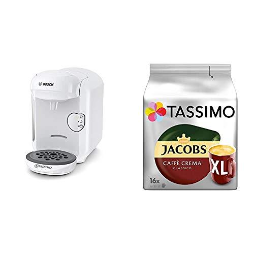 Bosch TAS1404 Tassimo Vivy2 Kapselmaschine, über 70 Getränke, vollautomatisch, geeignet für alle Tassen, kompakte Größe + Tassimo Kapseln Jacobs Caffè Crema + Latte Macchiato + Milka + Probierbox