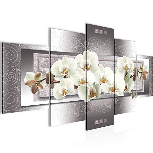 Bilder Blumen Orchidee Wandbild Vlies - Leinwand Bild XXL Format Wandbilder Wohnzimmer Wohnung Deko Kunstdrucke Grau 5 Teilig - MADE IN GERMANY - Fertig zum Aufhängen 205453b