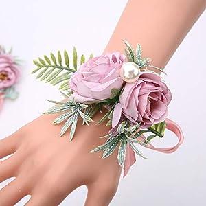 Silk Flower Arrangements SERRAFLORA Wristlet Corsage,Bridesmaid Bouquet,Wedding Wrist Flowers,Bridal Bouquet,Artificial Flower Bouquet,Silk Flower Supplies,Flower Decor,Wedding Flowers(12# 6pcs)