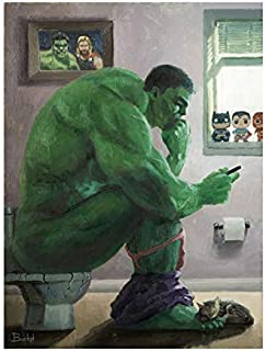 Bucket Hulk Splash Marvel Parody 12 Inches x 9 Inches Reproduction Gallery Wrapped Canvas Bathroom Toilet Wall Art