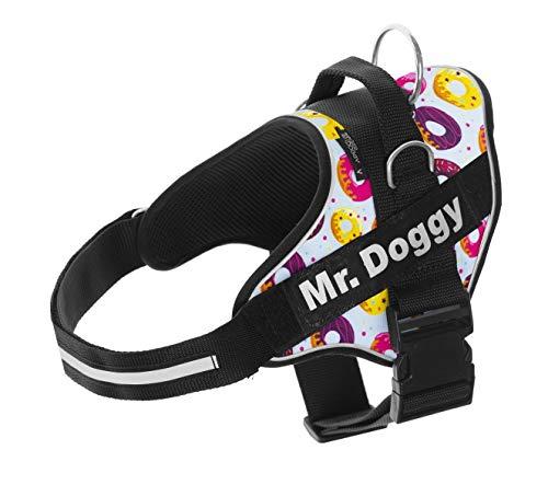 Arnés Personalizado para Perros - Estampado - Arnés para Perros Reflectante - Incluye 2 Etiquetas con Nombre - Todos los Tamaños - De Calidad y Resistente (L 20-35KG, DONUTS)