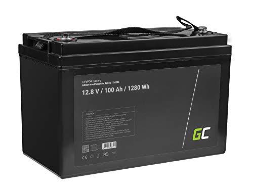 Green Cell® LiFePO4 Akku (100Ah 12.8V 1280Wh) Lithium-Eisen-Phosphat Batterie 12V Photovoltaikanlage BMS für Reisemobil Wohnmobil Caravan Boat Boot Golf Trolley Solar Solarbatterie Wohnwagen