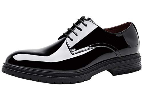 Zapatos de Cordones Derby Moda Charol Vestir Negocio Piel Plano Oxford para Hombre Negro 40 EU