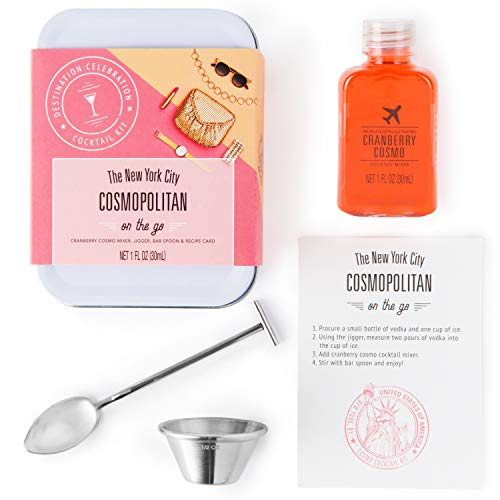 Thoughtfully Gifts, Cocktail Kit Travel Tin Gift Set, Includes Cranberry Cosmo Cocktail Mixer, Jigger, Bar Spoon and Recipe Card (Contains NO Alcohol)
