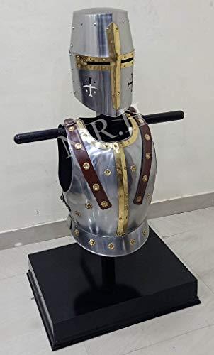 Nautical Replica Hub Mittelalterlicher Tempelritter Kreuzritter Helm Mittelalter Rüstung Halloween Kostüm Brustplatte Muskeljacke Set