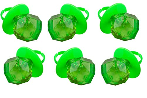 Jewel Pop Ring Shaped Hard Candy | Green Apple Flavor| 36 Count