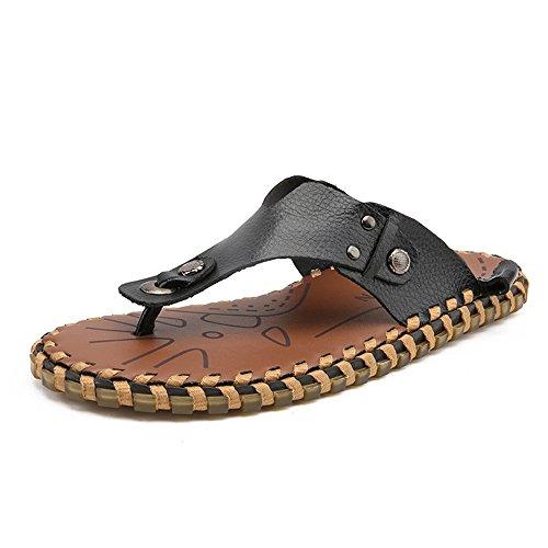 YANGFAN Zapatos de Cuero, Zapatos Casuales, Trabajo, al ai Zapatillas De Playa para Hombres, Sandalias De Cinturón, Solas Solas (Color : Black, Size : 8MUS)
