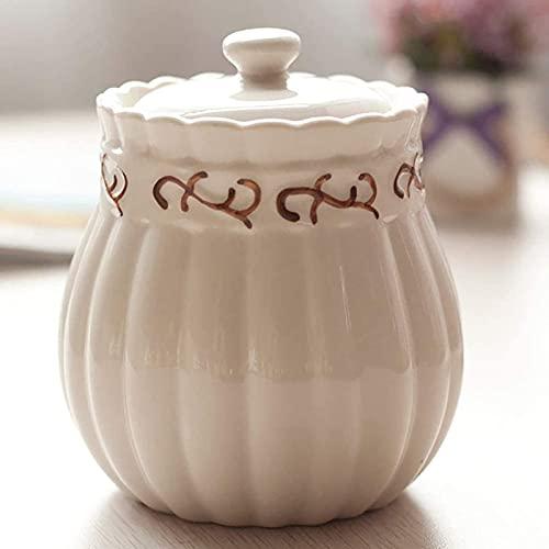 Il Barattolo di spezie per condimenti in Ceramica con Coperchio Il Contenitore sigillato per Cucina Creativa è la Scelta Migliore per conservare Sale e Pepe Bianco