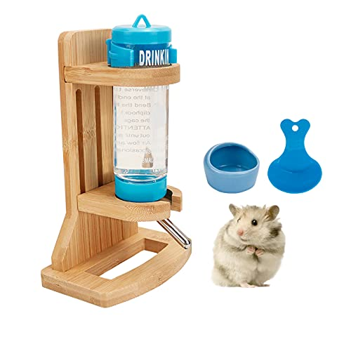 Hamster Water Bottle Stand, Wooden Water Bottle Stand Adjustable Rodent Water Dispenser with Base Auto Rat Water Bottle Holder with Water Bottle Small Food Feeder for Small Animals (H01)