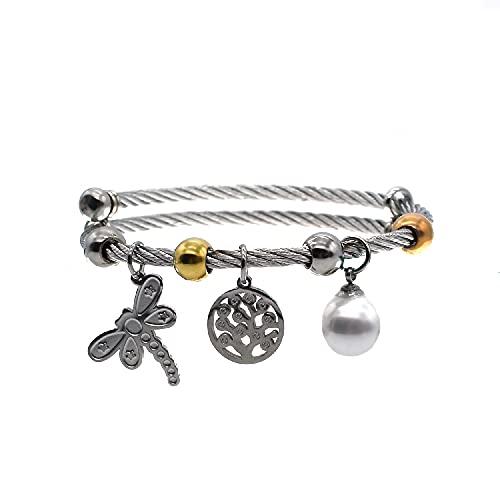 BDM - Pulsera de Acero Inoxidable para Mujeres Color Plata de cordón con Tres Colgantes. Amuletos de la Suerte, árbol de la Vida y libélula.