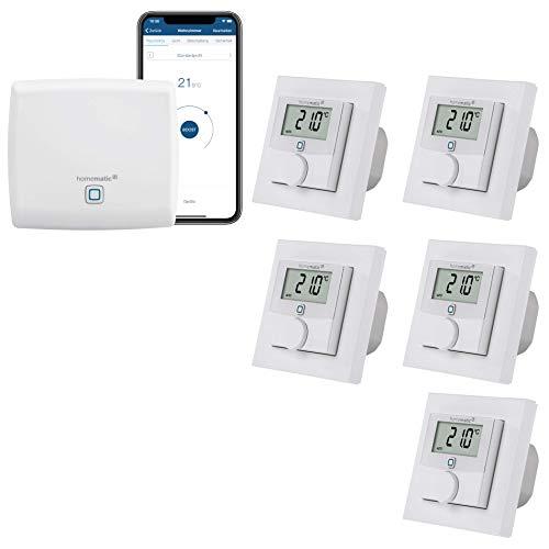 Homematic IP kabelgebundene Fußbodenheizungsregelung zur Einzelraumsteuerung in 5 Räumen - Zentrale und 5 Digitale elektronische Raumthermostate mit Schaltausgang. Mit App und Alexa kompatibel.