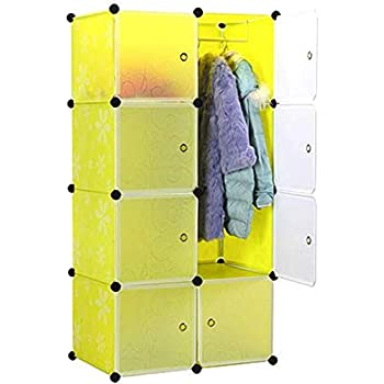 Styleys Plastic Shoe Rack with Cover for Home/Office Cube Organizer Wardrobe Black (8 Cube Green)