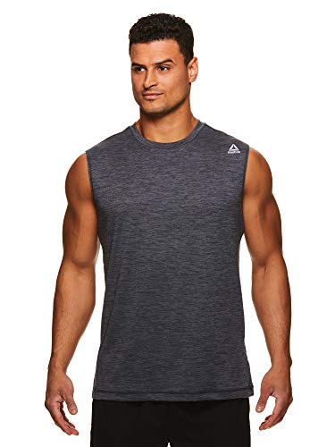 Reebok Men's Muscle Tank Top - Sleeveless Workout & Training Activewear Gym Shirt - Sprint Ebony Heather Grey, Large