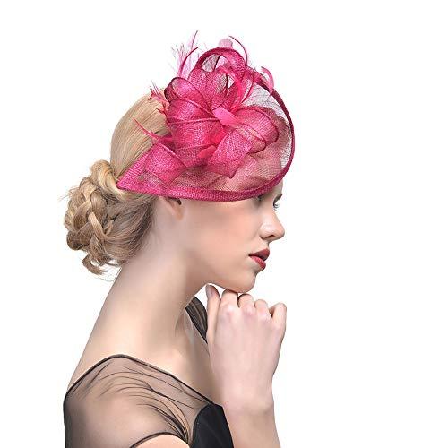 Mallalah Perfecto Nupcial Tocado Sombrero de Encaje, Fiesta Decoración para Mujeres Sombrero de la ceremonia de la boda de la Fiesta de la flor de la pluma de las mujeres (Rosa oscuro)