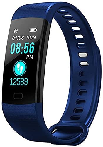 Rastreador de fitness, actividad impermeable, con ritmo cardíaco y monitor de presión arterial, con contador de calorías de seguimiento de sueño (azul)