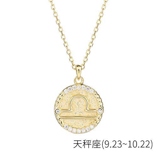 Bgpom Halskette Besteck S925 Sterling Silber Runde Anhänger Weibliche Zwölf Sternbild Halskette Weibliche Schlüsselbeinkette, Waage