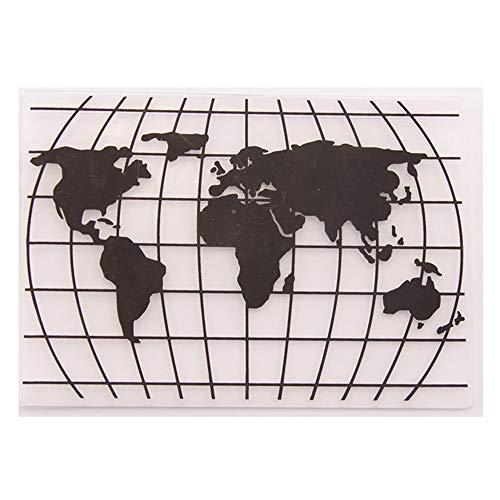 Weltkarte Erde Kunststoff Prägeschablone für Scrapbook DIY Album Karte Werkzeug Kunststoff Vorlagen Ordner