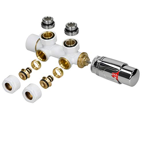 ECD Germany Ventil-Armaturen Set Multiblock Weiß Eckform inkl. Thermostatkopf für Badheizkörper mit Mittelanschluss - Anschlussgarnitur Heizkörper Eckausführung Eck Rohre aus Wand mit Thermostat