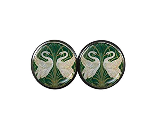 Art Nouveau - Pendientes de tuerca, diseño de cisne, color verde