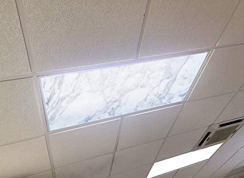 Gray Marble Stone - 2ft x 4ft Drop Ceiling Fluorescent Decorative Ceiling Light Cover Skylight Film