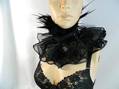 Feder Halsband Kragen schwarz Choker Mühlsteinkragen Gothic Steampunk Karneval Kostüm Krähe Rabe
