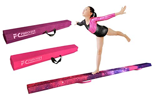 8FT Folding Floor Gymnastics Equipment for Kids Adults,Non Slip Rubber Base, Gymnastics Beam for Training, Practice, Physical Therapy and Professional Home Training