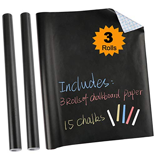 3 Kreidetafel-Kontaktpapier-Rolle, selbstklebende Tapeten-Aufkleber, Kreide inklusive, 43,2 x 199,9 cm