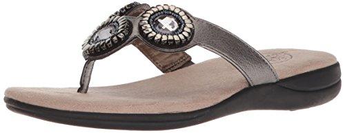 LifeStride Women's Estella Flat Sandal, Pewter, 8.5 M US