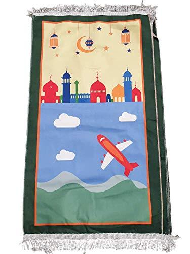 Flugzeug mit Moschee Kinder Kind Kinder Gebetsteppich Teppich islamisch muslimische Cartoon Kinder My Salah Geschenk Jungen Mädchen