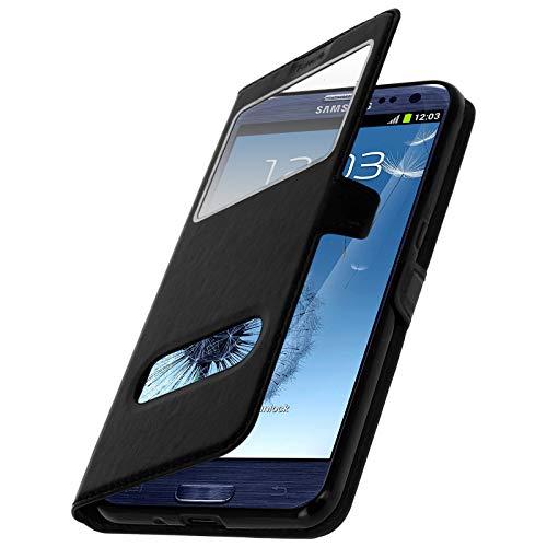 Tenphone Etui pour Samsung Galaxy s3, Housse 2 Fenêtres, PU Cuir, Coque en PVC, Fermeture Magnetique, Galaxy SIII, GT-I9300 I9300 GT-I9305 I9305 (Galaxy S3-2 Fenêtres, Noir)