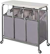 STORAGE MANIAC 3-Section Laundry Sorter, Heavy-Duty Rolling Laundry Cart with Ironing Board and Removable Bags, Grey