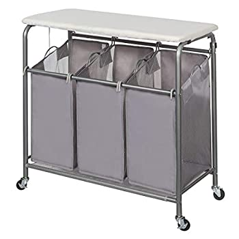 STORAGE MANIAC 3-Section Laundry Sorter Heavy-Duty Rolling Laundry Cart with Ironing Board and Removable Bags Triple Laundry Hamper with Wheels Grey
