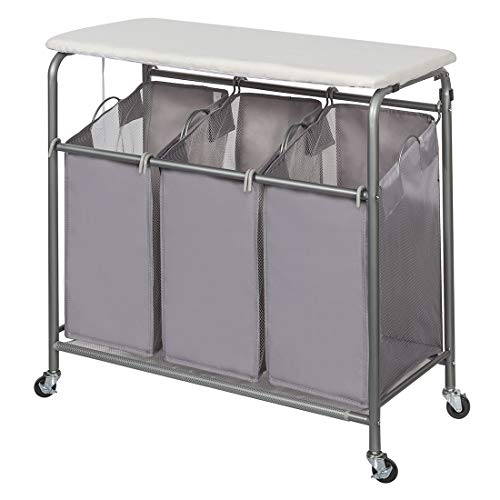 STORAGE MANIAC 3-Section Laundry Sorter, Heavy-Duty Rolling Laundry Cart with Ironing Board and Removable Bags, Triple Laundry Hamper with Wheels, Grey
