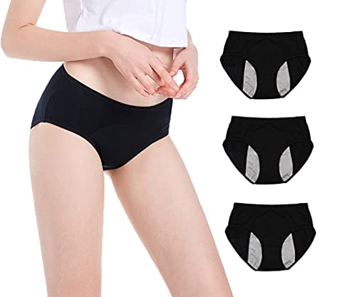 Leak Proof Protective Panties for Women Menstrual Period / Girls Heavy Flow/ Postpartum Bleeding/ Urinary Incontinence (Pack of 3) (Black, L / 28-31 Waist)