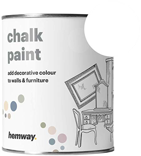 Hemway Chalk Paint (White) Matt Finish Wall and Furniture Paint 1L / 35oz Shabby Chic Vintage Chalky (14 Colours Available)