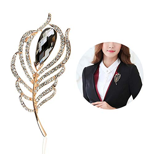 Huture Peacock Feather Brooch for Women Austrain Crystal Brooch Vintage Teardrop Brooch Elegant Peacock Plume Large Rhinestone Brooches Lapel Pins Brooches for Wedding Jewelry Accessories, Grey