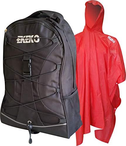 Mochila Y Poncho-Pack EKEKO Camino Santiago, Set DE Mochila 30L Y Poncho Impermeable Rojo DE PVC. (Negro/Negro)