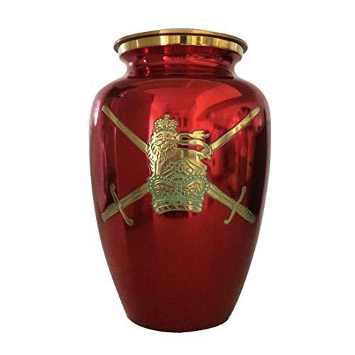 militaire Symbole Rouge Urne funéraire, Laiton, Red, 10X6.25