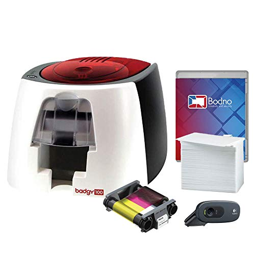 Badgy100 Color Plastic ID Card Printer with Complete Supplies Package with Photo ID Camera & Bodno ID Software - Bronze Edition