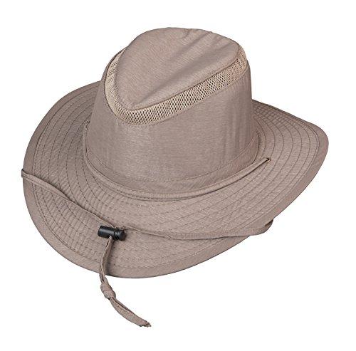 Broner Mens Streamside Poly Nylon Blend Big Brim Sun Hat with Chincord Tan