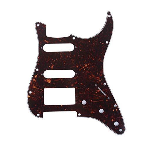 Musiclily Pro 11 Löcher HSS Moderner Stil Strat Pickguard Gitarren Schlagbrett für American Stratocaster,4 lagig Tortoise Shell