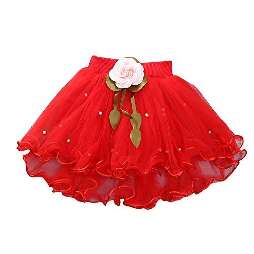 YWLINK MäDchen Zeigen Tanz Party Blume Prinzessin Mesh Karneval Minirock Mit Perlen Elastische Taille Tutu Rock (Rot,6)