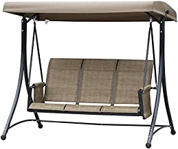 Outsunny 3 Person Outdoor Patio Porch Swing Chair with High Back Design, Side Pouches and Adjustable Canopy, Brown