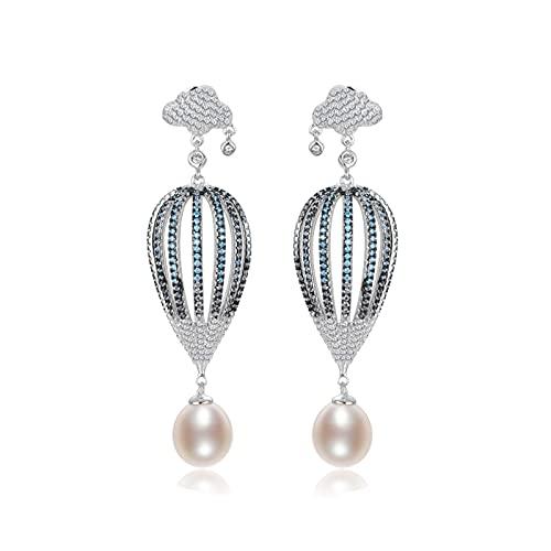 OMTONGXIN Pendientes Pendientes de Perlas 925 Plata Pendientes de Perlas de Agua Dulce en Forma de Gota 10-11mm Pendientes de Globo de Aire Caliente Pendientes de Bola para Mujer