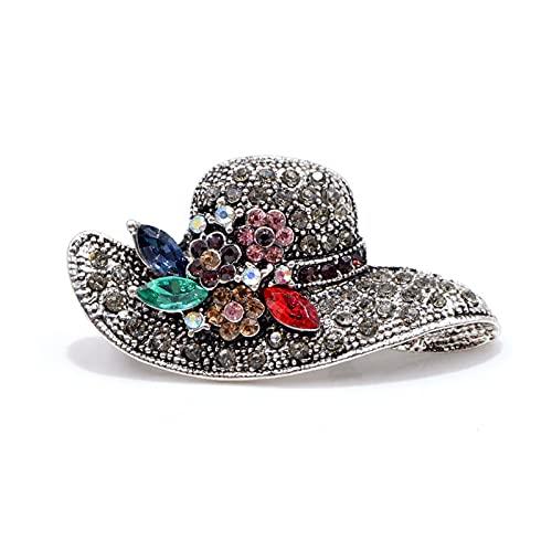 lliang Broche Vintage Moda Antiguo Gold Color Sombrero Broches para Mujeres Accesorios De Corsario De Boda Pines (Metallfarbe : Silver)