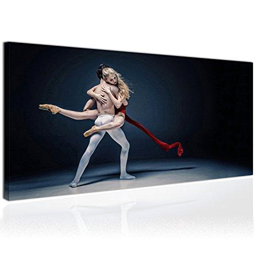 Topquadro Cuadro XXL sobre Lienzo, Imagen Panorámica 100x50cm, Pareja de Bailarines, Ballet Danza Clásica - Bailarina Baile Romántic - Decoración de Pared, Imagen Panorámica - Una Pieza
